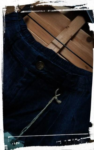 *D*g*y*コットンリネンデニム タックパンツ 新品 < 女性ファッションの