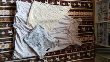 fu-aiキャミワンピ&ドラッグストアーズ花柄Tシャツ&レーススカーフ まとめ売り