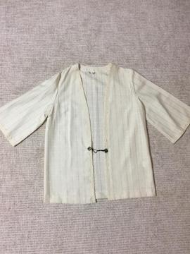 447.新品☆ノーカラージャケット 羽織☆アイボリー☆サイズ13号