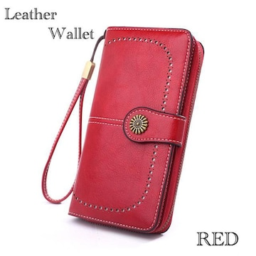 長財布 財布 レザー  革 お札入れ 小銭入れ カード入れ レッド