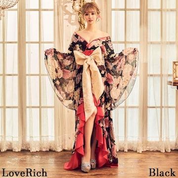 豪華絢爛 花魁着物ドレス フリル 花柄 帯付き