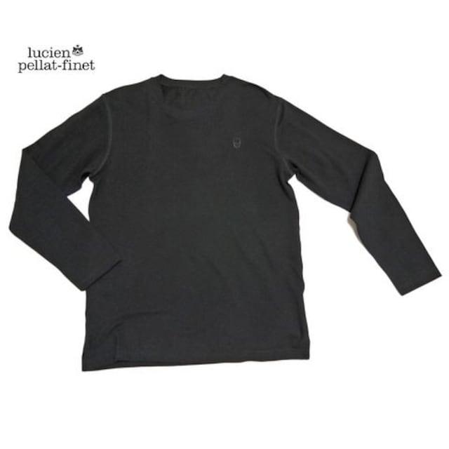 ルシアンペラフィネメンズスカル刺繍鹿の子長袖TシャツM黒lu  < ブランドの