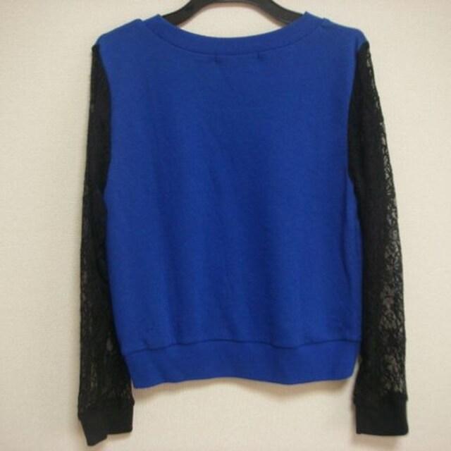 Sureve 袖おしゃれ透け薔薇 M 長袖 ブルー < 女性ファッションの