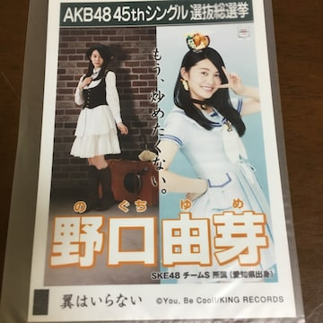 SKE48 野口由芽 翼はいらない 生写真 AKB48
