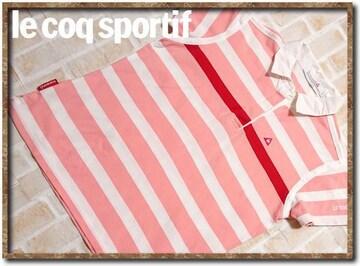 ルコック 刺繍入りボーダー半袖ポロシャツ ピンク×白
