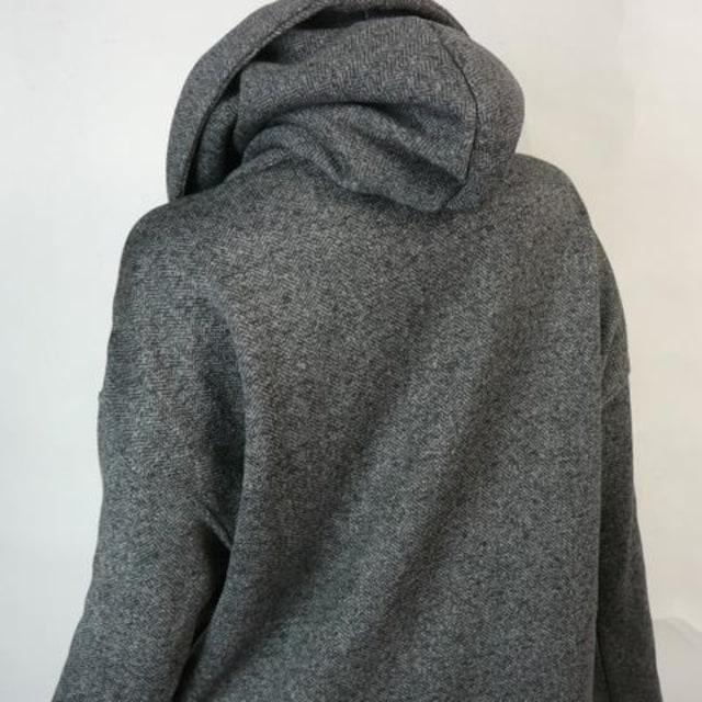 フーデットコーディガン★ダークグレー【新品★L】 < 女性ファッションの