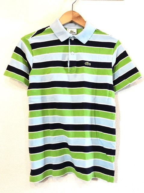 LACOSTE■ポロシャツ■ボーダー■ワニ■ラコステ■USA■緑青黒  < ブランドの