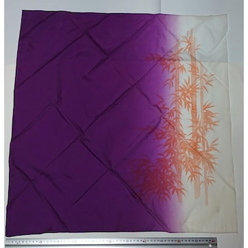 1円〜風呂敷 紫色×白色×オレンジ 67×67 昭和レトロ パープル