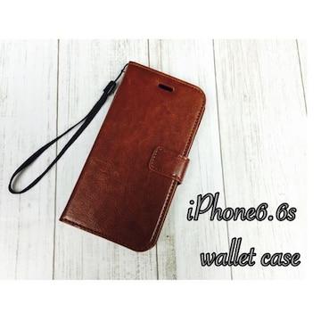 iPhone6 /6S 手帳型レザーケース 収納4携帯ケース 茶色 ブラウン