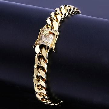 18kイエローゴールドGPマイアミダイヤモンドCZブレスレット