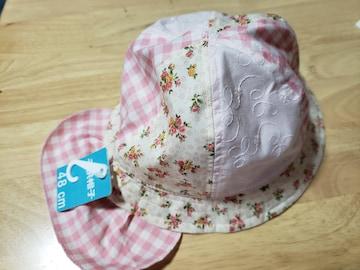 未使用★子供用帽子★日よけ布付き★48�a★花柄★女児