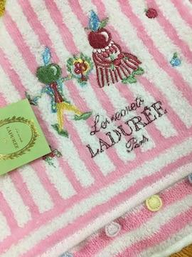LADUREEラデュレ タオルハンカチピンク刺繍