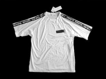 新品 定価1597円 r-zero 肩 ロゴ ジップ使い 白 黒 Tシャツ