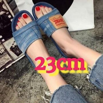 23cm/ラス1☆デニム地フラットサンダル