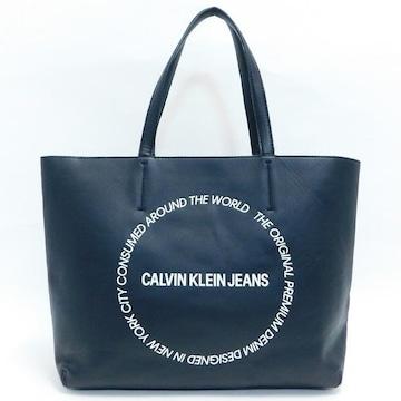 カルバンクラインジーンズ トートバッグ 合皮 黒 良品 正規品