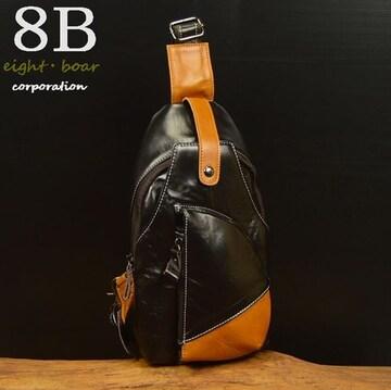 ◆オイルなめし 牛本革 切替しボディバッグ 黒×茶◆k17