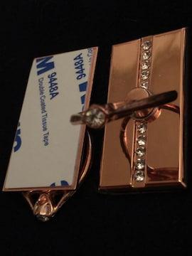携帯スタンド 指輪 リング ストーン付き 新品 ピンクゴールド