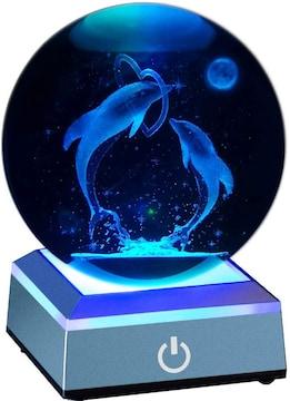 クリスタル ボール 80mm イルカ LEDライト 多色変更