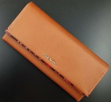 新品☆箱付 ポールスミス 人気花柄デザイン 長財布 キャメル
