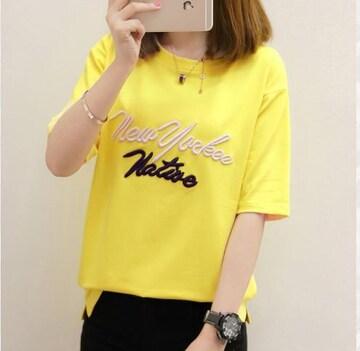 イエロー 韓国ファッション Tシャツ ラウンドネック 半袖