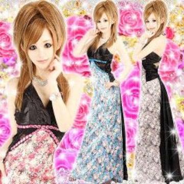 《New》キャバ嬢★sexyバックスタイル・花柄フェアリーテール*ロングドレス<パープルM>