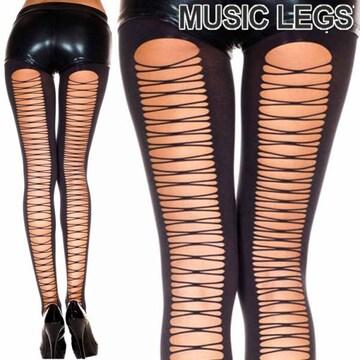 A574)MusicLegsコルセットバックタイツ黒ストッキングダンス衣装ブラック編み上げ