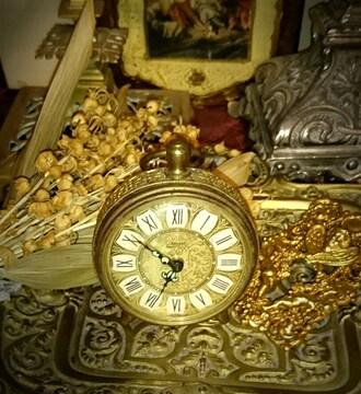 ドイツ製 アンティーク 小型 ゼンマイ 目覚まし 時計 置時計 金