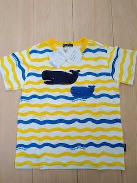 新品タグ付 ムージョンジョン キッズ 半袖ボーダーTシャツ サイズ120 くじら