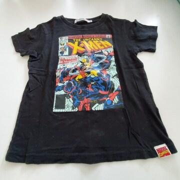 黒にXメン模様半袖Tシャツ110