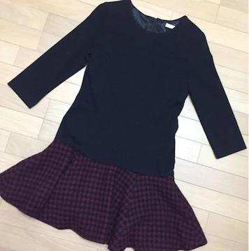 FREE'S SHOP 7分袖ワンピース黒×ワインレッド 千鳥格子スカート