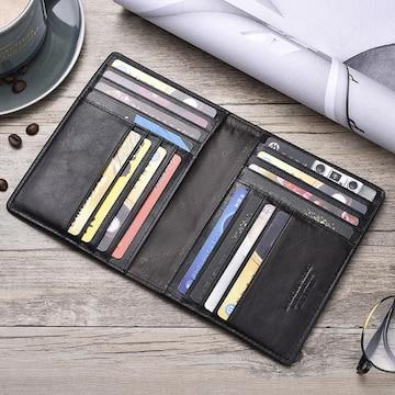 二つ折り カードケース 財布 本革 高級牛革 黒色
