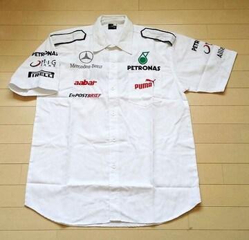 1セール! ベンツ ロゴ  白シャツ L f188