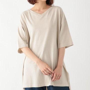 〇studioCLIP〇ゆったりオーバーサイズ Vネック スリットTシャツ