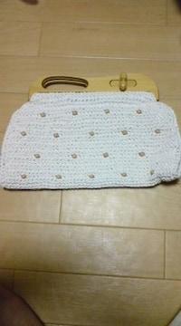 新品 ハンドバッグ  木製 ハンド 個性的 編み