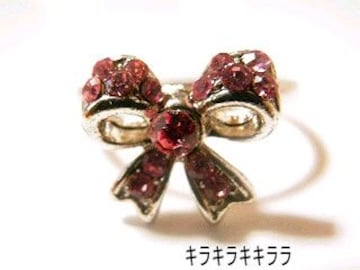 《New》ageha掲載★エタニティリボン・リング/指輪<ピンク>【箱付】