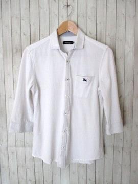 ☆バーバリーブラックレーベル 7分袖シャツ ポロシャツ/メンズ/2☆白