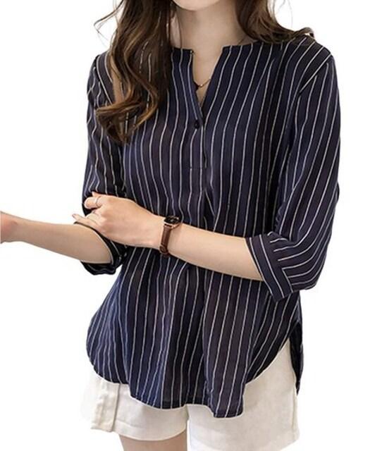 ストライプ スキッパー 七分袖 ブラウス(L寸.紺) < 女性ファッションの