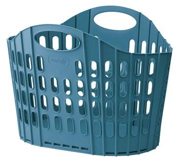 折りたためるランドリーバスケット ブルー 洗濯物入れ