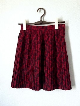 ビバユー◆レッド 華やか 花柄 プリーツ スカート Mサイズ