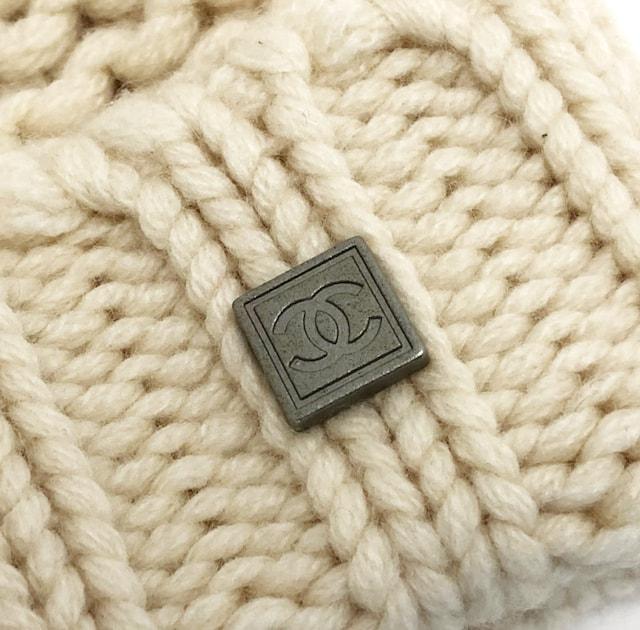 正規小さめシャネルニット帽子ココマークカシミヤ100%ケーブ < ブランドの