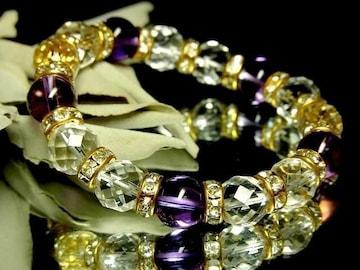64面カット水晶10ミリ&紫水晶アメジスト10ミリ金ロンデル数珠