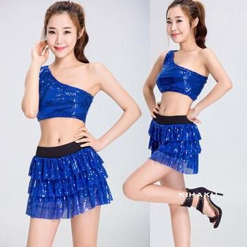 ブルー きらきら チアガール レースクイーン コスプレ衣装