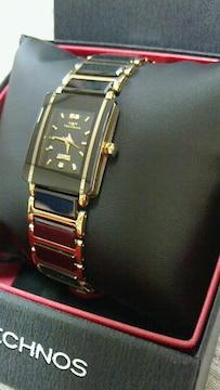新品テクノス☆ブラックセラミック&ゴールドカラー天然ダイヤ入りレディース腕時計★送込