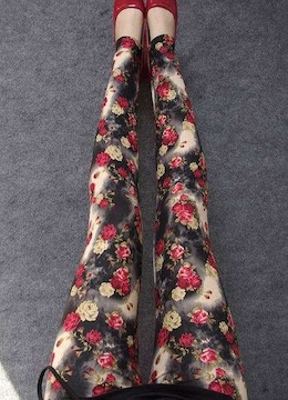 送料無料 レディース 薔薇 プリント レギンスパンツ 花柄 ローズ レギパン レッド