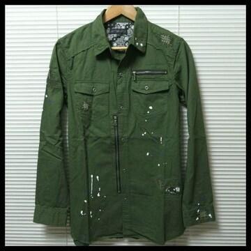 ★in the attic★リメイクミリタリーロングシャツ/KHAKI/LL 特価