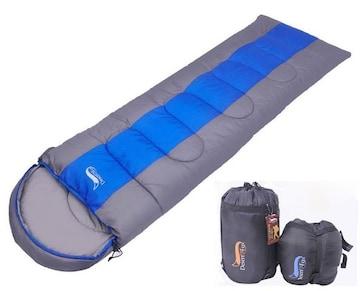 寝袋 封筒型 軽量 アウトドア ブルー 1kg