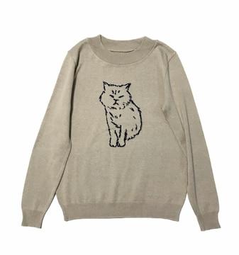 シロップ〓ニャンコ猫ニットセーター〓袖に肉球(L)ベージュ〓美品