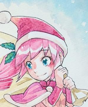 自作イラスト/創作/クリスマス/女の子/マスコット/透明水彩
