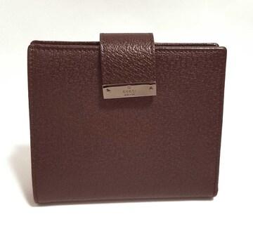 正規新品同様グッチ財布二つ折りレザーダークブラウン茶