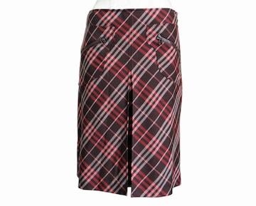 バーバリーブルーレーベル ボックスプリーツ スカート #38 レッド×ブラウン系 送料無料